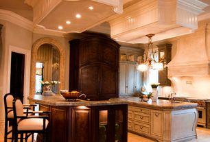 Traditional Kitchen with Pendant light, Limestone, specialty door, Flush, full backsplash, limestone tile floors, U-shaped