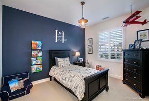 Traditional Kids Bedroom with The Shutter Store Full Height Shutters, Carpet, Navy Harper My First Anywhere Chair