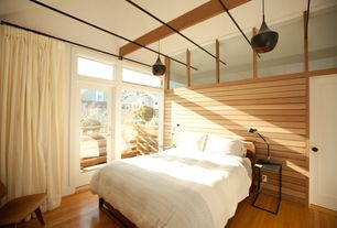 Modern Master Bedroom with Crown molding, Pendant light, Exposed beam, Transom window, High ceiling, Laminate floors