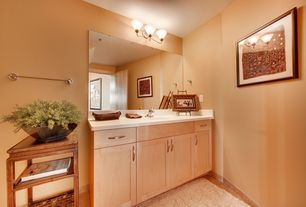Contemporary Powder Room with Limestone counters, Standard height, Flush, flat door, full backsplash, stone tile floors