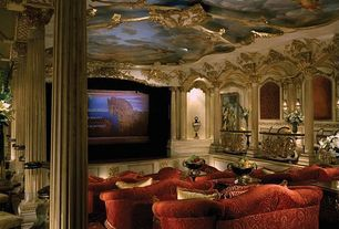 Home Theater with Standard height, Pendant light, Columns, Wall sconce