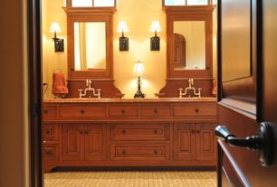 Craftsman Master Bathroom with Powder room, Glomar 1-Light Old Bronze Sconce with Linen Waffle Shade, Standard height