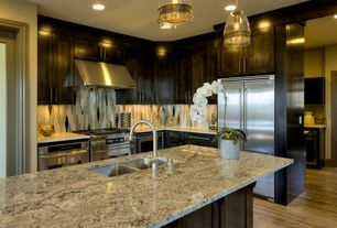 Contemporary Kitchen with High ceiling, Kitchen island, Complex granite counters, Crown molding, Flush, Pendant light