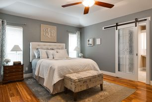 Cottage Master Bedroom with Cozy Fleece All Seasons Cotton Cable Blanket, Ceiling fan, J&J Bedding Classic Cotton Quilt