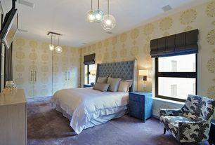Contemporary Master Bedroom with Carpet, interior wallpaper, Built-in bookshelf, Pendant light