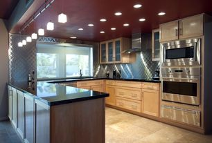 Modern Kitchen with Pendant light, Induction cooktop, Warming drawer, Frigo Design Quilted Stainless-Steel Backsplash