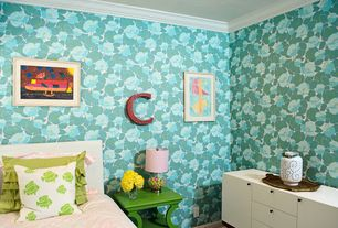 Contemporary Kids Bedroom with West Elm Dumont Media Console White, interior wallpaper, Crown molding