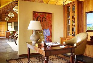 Tropical Home Office with Built-in bookshelf, Exposed beam, Concrete tile
