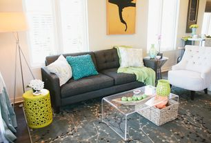 Contemporary Living Room with Clear Acrylic Coffee Table, Acrylic coffee table, Tufted sofa, Imax essentials garden stool