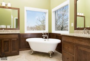 Traditional Master Bathroom with Master bathroom, full backsplash, wall-mounted above mirror bathroom light, Wainscotting