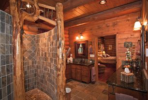 Rustic Master Bathroom with Inset cabinets, Simple granite counters, Shower, Undermount sink, Log walls, Flat panel cabinets