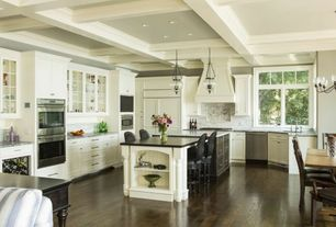 Traditional Kitchen with Inset cabinets, Westminster Large 3-light Autumn Bronze Indoor Pendant with Cloche Glass, U-shaped