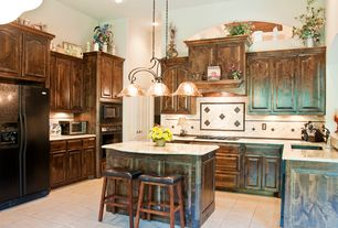 Country Kitchen with Raised panel, Ceramic Tile, Built In Refrigerator, Breakfast bar, specialty door, built-in microwave
