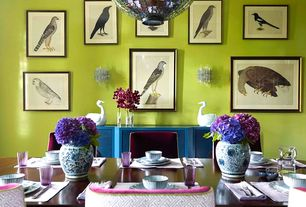 Eclectic Dining Room with soapstone tile floors, Paint, Console table, stone tile floors, Wall sconce, Pendant light