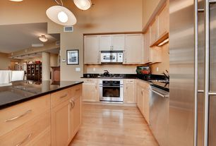 Contemporary Kitchen with wall oven, Flat panel cabinets, European Cabinets, High ceiling, Paint, Pendant light, L-shaped