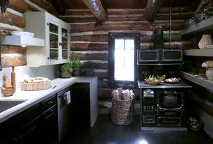 Rustic Kitchen with Limestone counters, can lights, Pental quartz  super white bq200, Casement, gas range, Glass panel, Flush