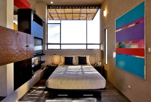 Eclectic Master Bedroom with can lights, Wall sconce, Standard height, Carpet, Columns, Casement, picture window