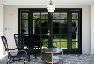 Traditional Porch with Screened porch, Pathway, French doors, Trans Globe Bristol 5113 High Hanging Light - Bronze - 15H in.