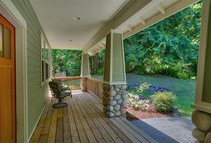 Craftsman Porch with Wrap around porch, Glass panel door, Pathway