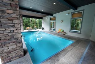 Traditional Swimming Pool with Transom window, Indoor pool, French doors, specialty window, picture window