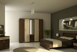 Contemporary Master Bedroom with sandstone floors, Standard height, Paint, Pendant light, Built-in bookshelf, can lights