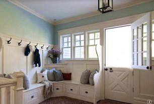 Country Mud Room with Custom casework, Crown molding, Shades of light federal hanging lantern - 3 light, can lights, Paint 1