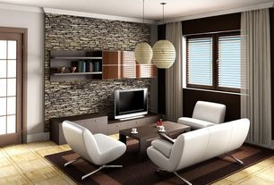 Modern Living Room with Area rug, Crown molding, Hidden bookshelves, French doors, Ikea - Regolit Pendant Lamp Shade