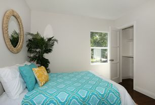 "Tropical Guest Bedroom with Cooper Classics Bellini 30 3/4"" Round Wall Mirror, specialty door, Standard height, Paint 1"