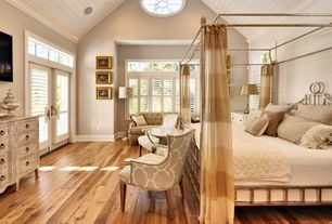 Cottage Master Bedroom with French doors, Shiplap ceiling, High ceiling, Plantation shutters, Ceiling fan, Crown molding
