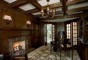 Traditional Home Office with Fireplace, Wall sconce, French doors, can lights, Chandelier, Standard height, Box ceiling