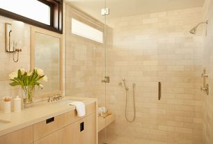 Contemporary Master Bathroom with Wall sconce, Undermount sink, frameless showerdoor, European Cabinets, Corian counters