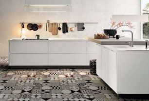 Contemporary Kitchen with Limestone counters, European Cabinets, Undermount sink, Standard height, Kitchen island, One-wall