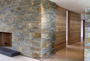 Contemporary Hallway with Golden Honey Ledger Corner 6 in. x 6 in. x 6 in. Natural Quartzite Wall Tile, Concrete floors