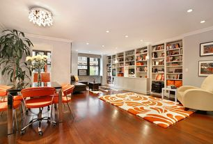 Contemporary Great Room with Hardwood floors, Crown molding, Chandelier, Built-in bookshelf