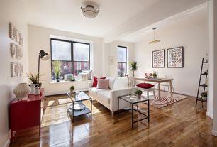 Contemporary Living Room with FlashFurniture Coffee Table, Cal Lighting Pharmacy Adjustable Floor Lamp, Window seat