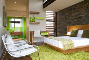 Contemporary Guest Bedroom with Hardwood floors, High ceiling