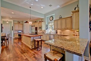 Country Kitchen with Stone Tile, built-in microwave, Casement, Breakfast nook, Built In Refrigerator, specialty door, Paint 1