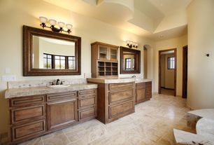 Craftsman Full Bathroom with Raised panel, complex marble floors, Complex granite counters