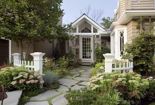 Traditional Landscape/Yard with Pathway, Exterior paint, Transom window, English cottage style exterior, Happy hollow