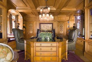 Traditional Home Office with Standard height, Glass panel door, Chandelier, Laminate floors, Window seat, Box ceiling, Carpet