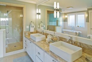 Contemporary Master Bathroom with Framed Partial Panel, bathroom sink, Bathtub, framed showerdoor, Complex marble counters