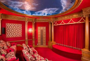 Eclectic Home Theater with Carpet, Mural, High ceiling, Wall sconce, Chair rail, Crown molding