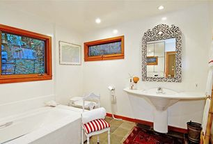 Eclectic Full Bathroom with Pedestal sink, Daltile Natural Hues Pearl White Ceramic Field Tile, Powder room, Vinyl floors