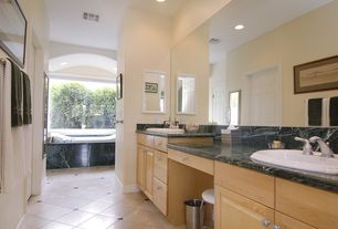 Modern Master Bathroom with stone tile floors, Standard height, Flat panel cabinets, picture window, Complex marble counters