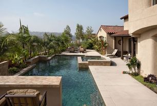 Modern Swimming Pool with Pool with hot tub, Raised beds, exterior stone floors