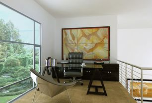 Contemporary Home Office with Built-in bookshelf, Eames soft pad executive chair, Arke metal white balcony rail kit, Loft