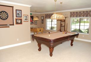 Traditional Game Room with Crown molding, flush light, Pendant light, High ceiling, Casement, Carpet