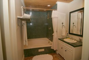 Cottage Full Bathroom with Daltile - Quarry Tile Red Blaze 6 in. x 6 in. Ceramic Floor and Wall Tile, Crown molding
