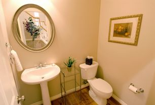 Traditional Powder Room with Powder room, Standard height, Pedestal sink, Laminate floors