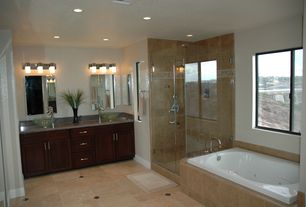 Modern Master Bathroom with Simple granite counters, Frameless, Standard height, Shower, can lights, Bathtub, Casement